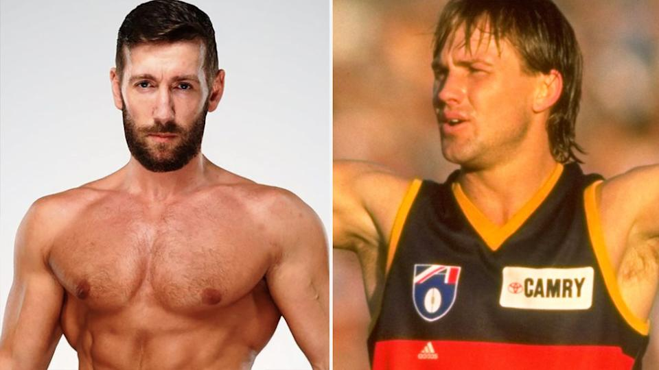Australian WWE hopeful Brendan Vink's attempt to change his stage name to 'Tony Modra' has left the AFL great he was hoping to honour feeling less than impressed. Pictures: Instagram/Getty Images