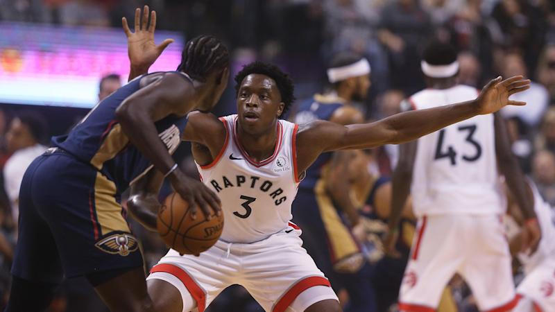 TORONTO, ON- OCTOBER 22 - Toronto Raptors forward OG Anunoby (3) defends against New Orleans Pelicans guard Jrue Holiday (11) as the Toronto Raptors open the season against the New Orleans Pelicans with a 130-122 overtime win at Scotiabank Arena in Toronto. October 22, 2019. (Steve Russell/Toronto Star via Getty Images)