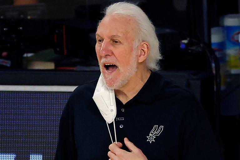 San Antonio Spurs head coach Gregg Popovich yells from the sideline during the first quarter of an NBA basketball game against the Utah Jazz, Thursday, Aug. 13, 2020, in Lake Buena Vista, Fla
