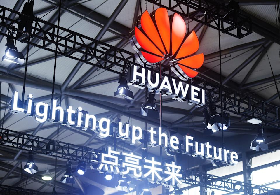 SHANGHAI, CHINA - FEBRUARY 23, 2021 - The Huawei logo is seen during the Mobile World Congress 2021 in Shanghai, China, Feb 23, 2021. On March 16, 2021, Huawei announced a cap of $2.50 on licensing fees for a single phone that complies with 5G standards. (Photo credit should read Costfoto/Barcroft Media via Getty Images)