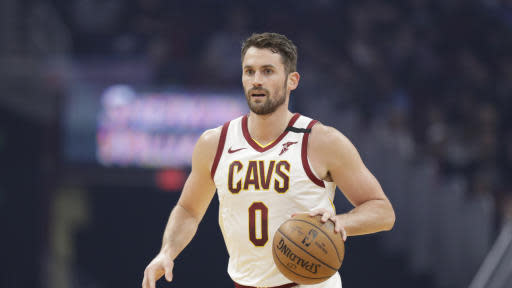 Cleveland Cavaliers' Kevin Love drives against the Miami Heat in the first half of an NBA basketball game, Monday, Feb. 24, 2020, in Cleveland. (AP Photo/Tony Dejak)