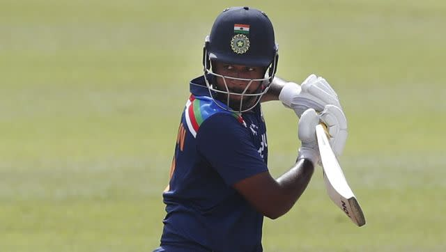 Sanju Samson was among the five Indian players to mae debut in the third ODI. He missed his fifty by just four runs but his knock helped India post 225. AP