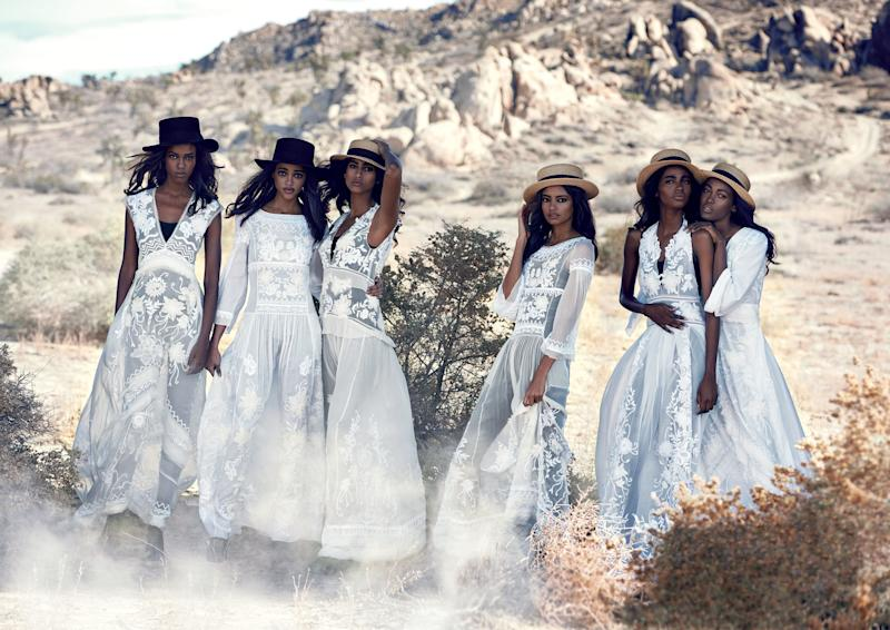 """Light Brigade,"" with models, from far left: Leila Nda, Aya Jones, Imaan Hammam, Malaika Firth, Tami Williams, and Kai Newman"