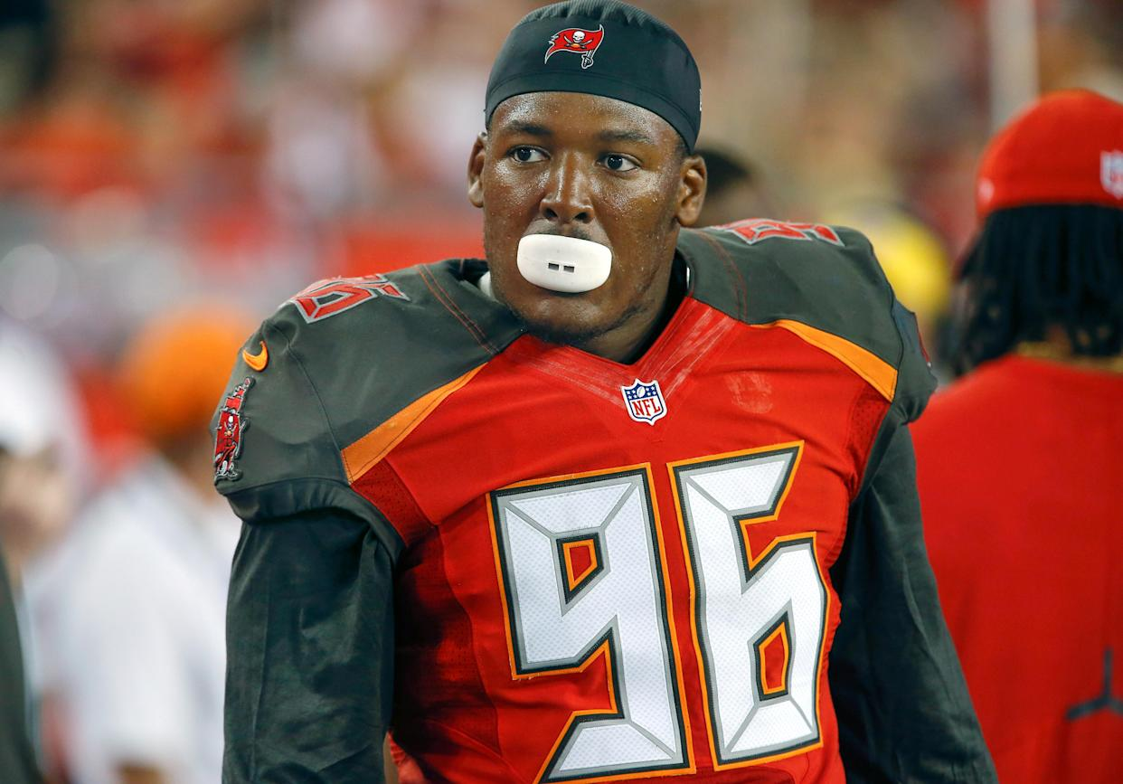 FILE PHOTO:      Nov 27, 2016; Tampa, FL, USA; Tampa Bay Buccaneers defensive end Ryan Russell (96) on the bench during the second half of an NFL football game at Raymond James Stadium. Mandatory Credit: Reinhold Matay-USA TODAY Sports