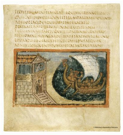 An ancient codex realized in Rome in 400 AD is seen at the Vatican in this March 20, 2014 handout released by Biblioteca Apostolica Vaticana (Vatican Apostolic Library). REUTERS/Biblioteca Apostolica Vaticana/Handout via Reuters