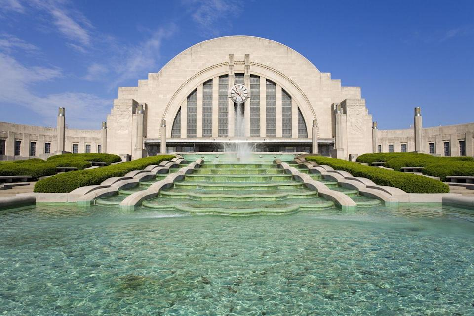 """<p>An Ohio State icon, <a href=""""http://www.cincymuseum.org/union-terminal"""" rel=""""nofollow noopener"""" target=""""_blank"""" data-ylk=""""slk:Union Terminal"""" class=""""link rapid-noclick-resp"""">Union Terminal</a> stands in Cincinnati as a proud example of the Art Deco period. Visitors admire the 1933 building's large half-dome architecture and stunning fountain display, all of which cost $41 million to build. Visitors can tour the building and its many exhibits or, you know, take a train.</p>"""