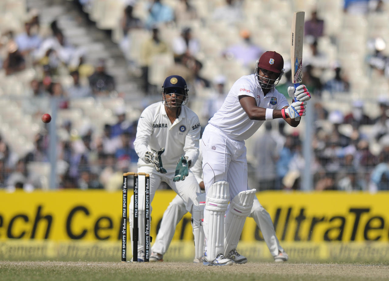 Darren Bravo of West Indies bats during day three of the first Star Sports test match between India and The West Indies held at The Eden Gardens Stadium in Kolkata, India on the 8th November 2013  Photo by: Pal Pillai - BCCI - SPORTZPICS