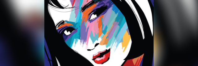 black and white illustration of a woman with short hair and rainbow colors splashed across her face