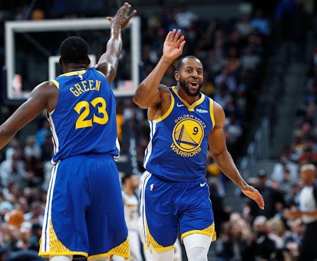 Andre Iguodala's comparison of Draymond Green's defense to Carmelo Anthony wasn't a slight. He swears. (AP)