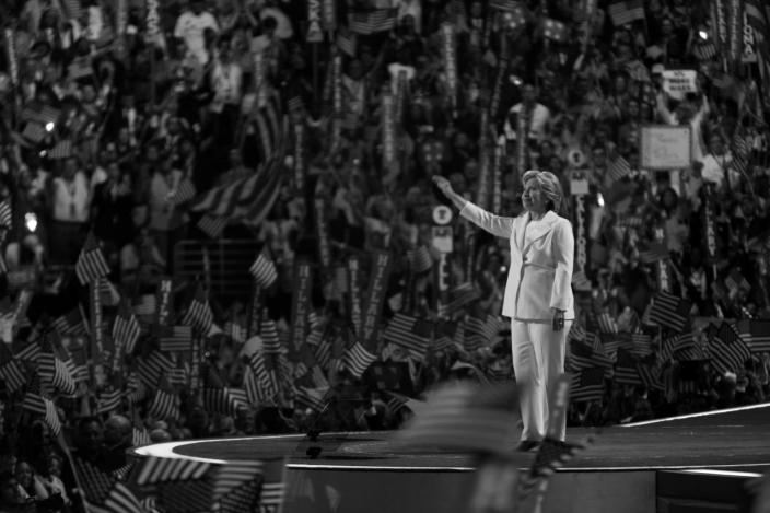 <p>Hillary Clinton takes the stage before accepting the nomination for president at the DNC in Philadelphia, PA. on Jauly 28, 2016. (Photo: Khue Bui for Yahoo News)</p>