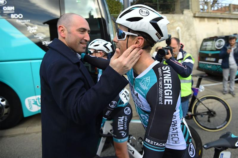 B&B Hotels-Vital Concept team manager Jérôme Pineau congratulates Bryan Coquard after winning the opening stage of the 2019 Etoile de Bessèges