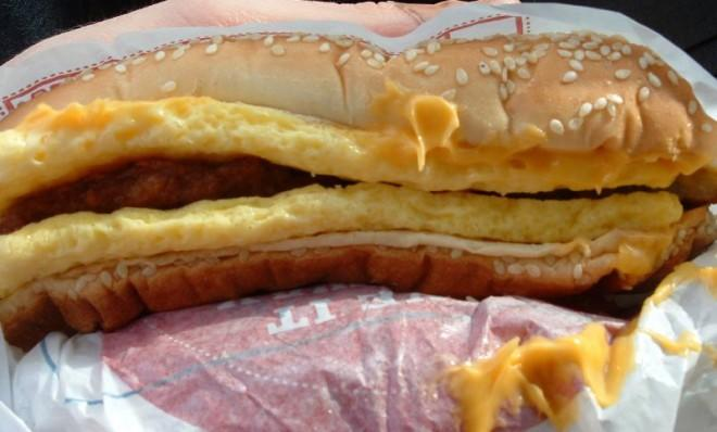 """Burger King's """"Enormous Omelet Sandwich"""" contains 47 grams of fat."""