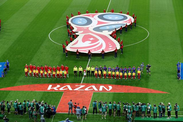 Soccer Football - World Cup - Group H - Poland vs Colombia - Kazan Arena, Kazan, Russia - June 24, 2018 General view as the players line up before the match REUTERS/Jorge Silva