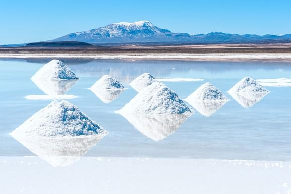 Lithium brine poo, with mounds of lithium salts in foreground, and mountains and blue sky in background.