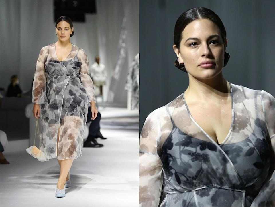 Ashley Graham has returned to the catwalk after her maternity leave, pictured on the runway for Fendi at Milan Fashion Week. (Getty Images)