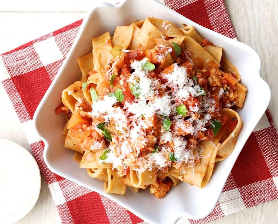 """<p>This pappardelle bolognese is a little lighter thanks to ground turkey instead of beef.</p><p>Get the recipe from <a href=""""https://www.delish.com/cooking/recipe-ideas/recipes/a44296/turkey-bolognese-recipe/"""" rel=""""nofollow noopener"""" target=""""_blank"""" data-ylk=""""slk:Delish"""" class=""""link rapid-noclick-resp"""">Delish</a>.</p>"""