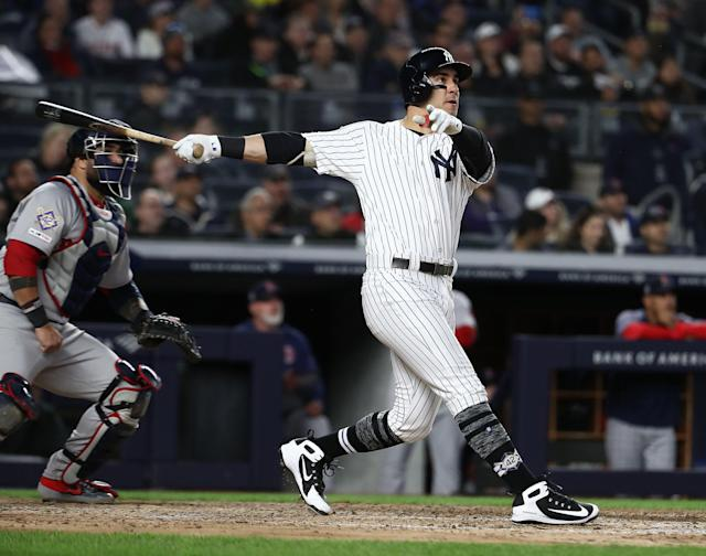 For his first career home run, coming in his 62nd game and third partial season, Mike Tauchman launched a three-run shot off Erasmo Ramírez. (Getty Images)