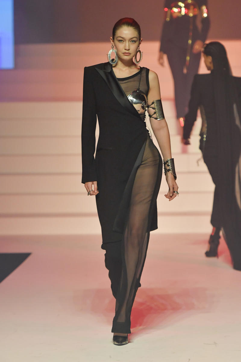 Gigi Hadid walks the runway during the Jean-Paul Gaultier Haute Couture Spring/Summer 2020 fashion show as part of Paris Fashion Week at Theatre Du Chatelet on January 22, 2020 in Paris, France.