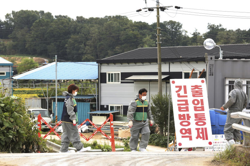 """Quarantine officials stand guard as a precaution against African swine fever near a pig farm in Paju, South Korea, Friday, Sept. 20, 2019. South Korea said Friday that it is investigating two more suspected cases of African swine fever from farms near its border with North Korea, as fears grow over the spread of the illness that has decimated pig herds across Asia. The notice reads: """"Under quarantine."""" (AP Photo/Ahn Young-joon)"""