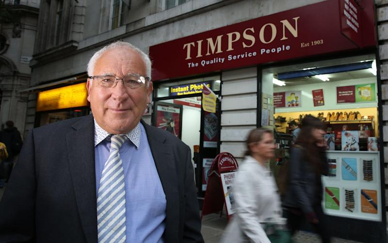 John Timpson, Chairman of Timpson shoe repairers - Rex Features
