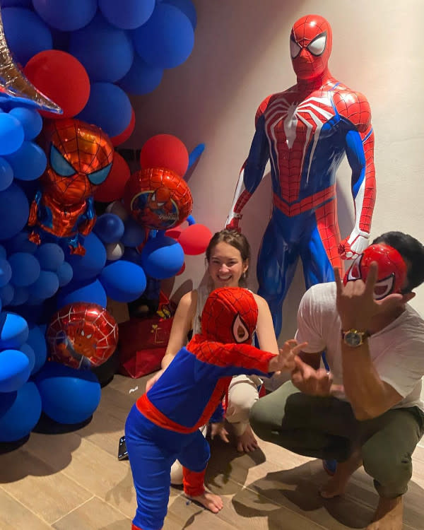 The little boy was clearly thrilled with his Spider-Man themed birthday party