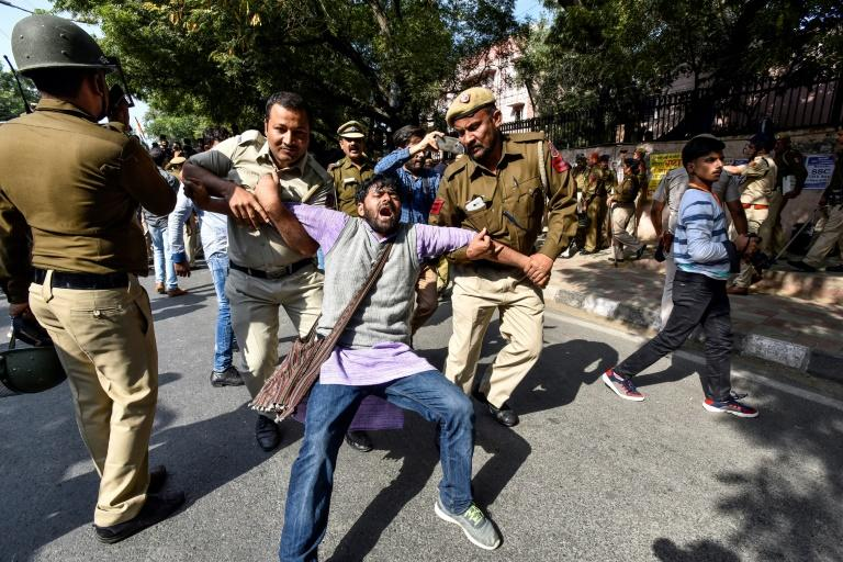 Police baton charged some groups of demonstrators and media reports said dozens of students from Jawaharlal Nehru University were detained