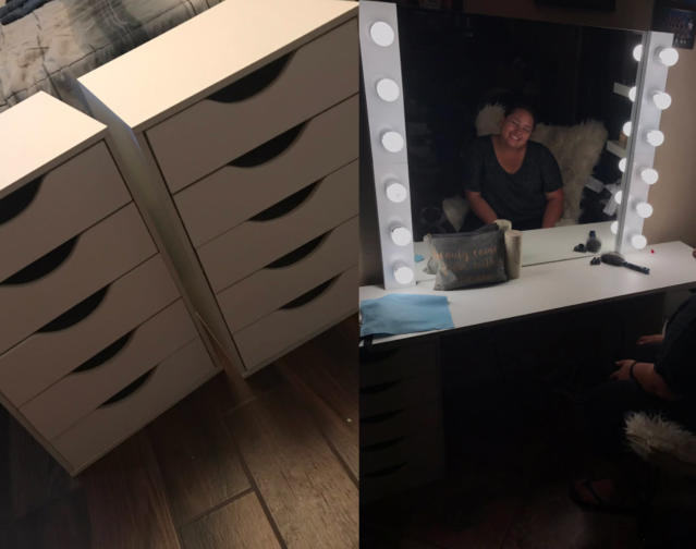A man shared on Twitter that he created a makeup vanity for his beauty-loving girlfriend. (Photo: Twitter/michael__s_)