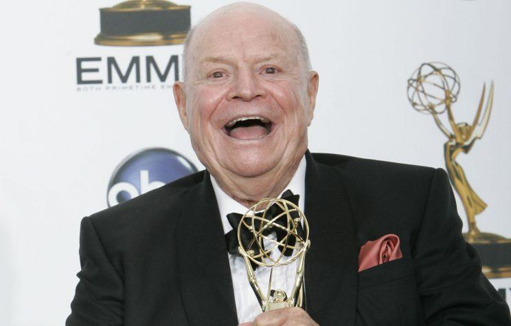 Don Rickles holds the award for outstanding individual performance in a variety or music program for his work on the 'Mr. Warmth: The Don Rickles Project' at the 2008 Primetime Emmy Awards