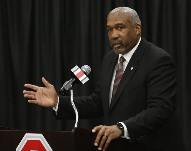 Ohio State athletic director Gene Smith issued a strong statement on Sunday afternoon for his department's support of the Black Lives Matter movement. (AP Photo/Jay LaPrete)