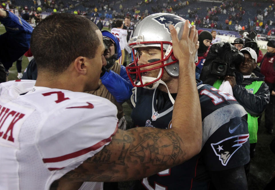 In December 2012, Colin Kaepernick and the San Francisco 49ers, beat Tom Brady and the New England Patriots. (AP)