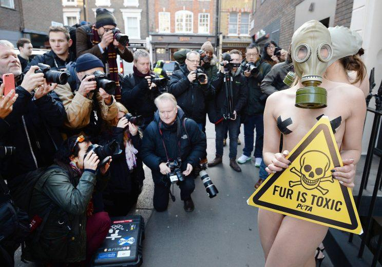 Protesters outside LFW last year [Photo: PA Images]