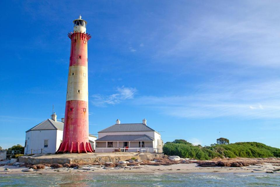 The candy-striped lighthouse of Troubridge Island