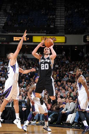 SACRAMENTO, CA - MARCH 28: Manu Ginobili #20 of the San Antonio Spurs looks to shoot the ball against the Sacramento Kings on March 28, 2012 at Power Balance Pavilion in Sacramento, California. (Photo by Noah Graham/NBAE via Getty Images)