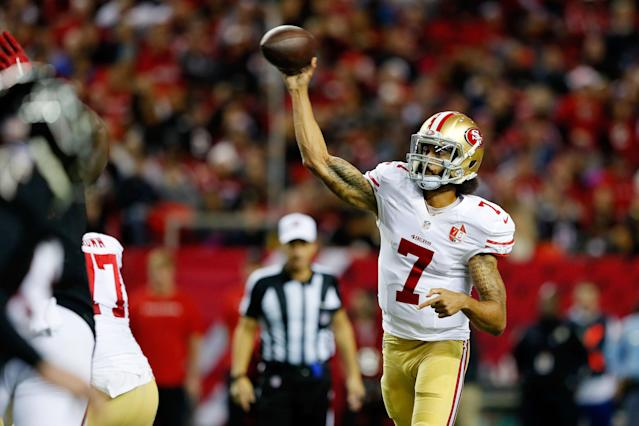 Colin Kaepernick amassed 18 total touchdowns while throwing only four interceptions in just 10 starts last season for the 49ers. (Getty Images)