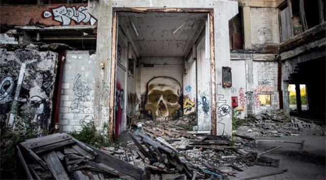 Ruins at the abandoned Packard Automotive Plant are seen in Detroit, Michigan. Photo: Getty.
