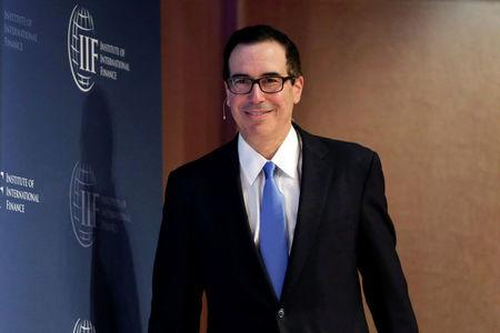 U.S. Treasury Secretary Steven Mnuchin arrives at 2017 Institute of International Finance (IIF) policy summit in Washington, U.S., April 20, 2017. REUTERS/Yuri Gripas