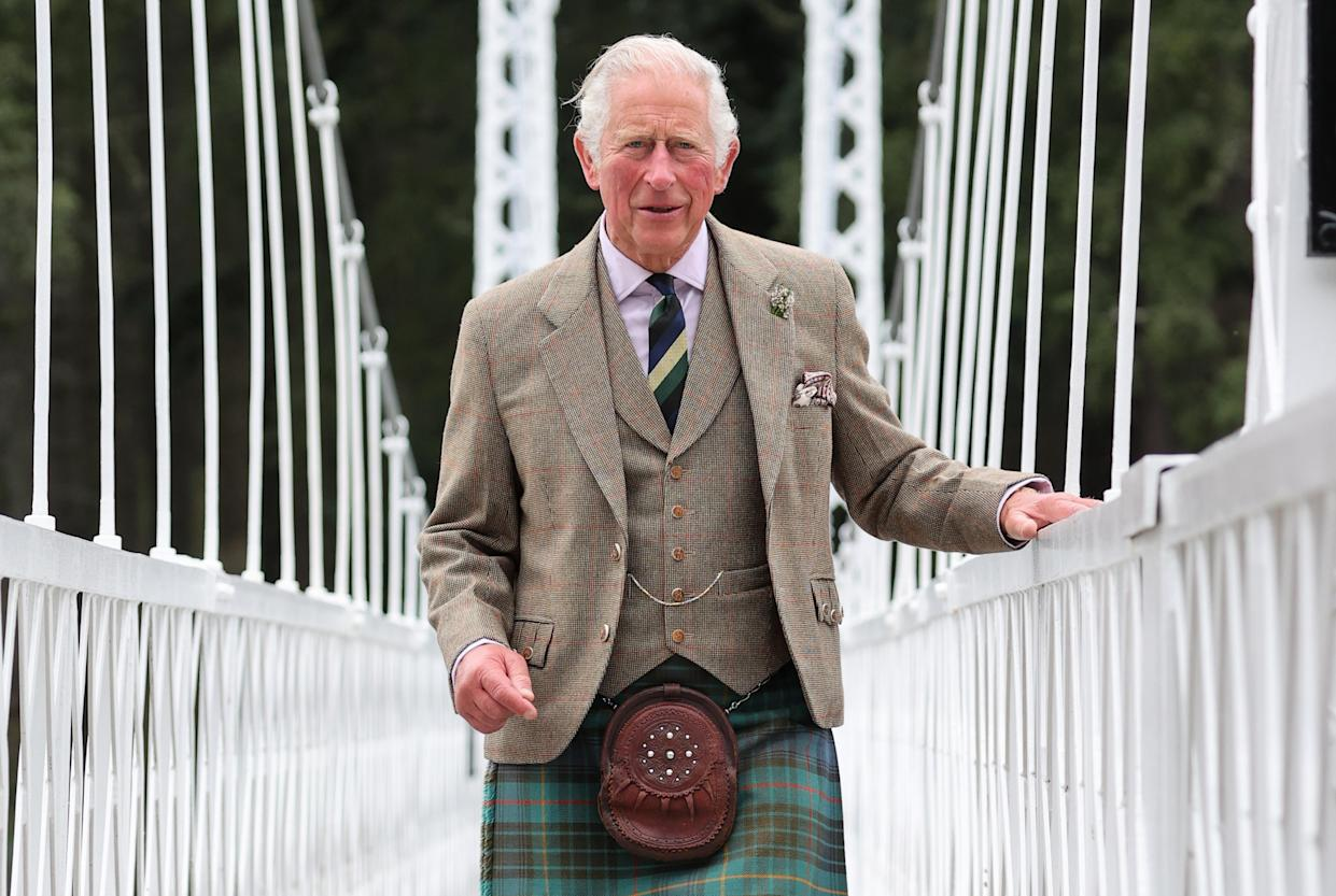 BALLATER, SCOTLAND - AUGUST 31: Prince Charles, Prince of Wales known as the Duke of Rothesay when in Scotland, visits Cambus O'May Suspension Bridge following its repair on August 31, 2021 in Ballater, Scotland. (Photo by Chris Jackson/Getty Images)