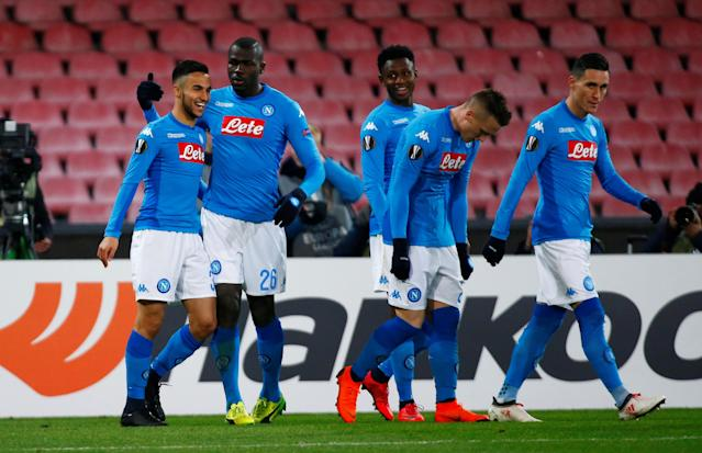 Soccer Football - Europa League Round of 32 First Leg - Napoli vs RB Leipzig - Stadio San Paolo, Naples, Italy - February 15, 2018 Napoli's Adam Ounas celebrates scoring their first goal with team mates REUTERS/Tony Gentile