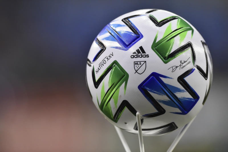 MONTREAL, QC - FEBRUARY 29: The official MLS ball ahead of the game between the Montreal Impact and New England Revolution at Olympic Stadium on February 29, 2020 in Montreal, Quebec, Canada. The Montreal Impact defeated New England Revolution 2-1. (Photo by Minas Panagiotakis/Getty Images)