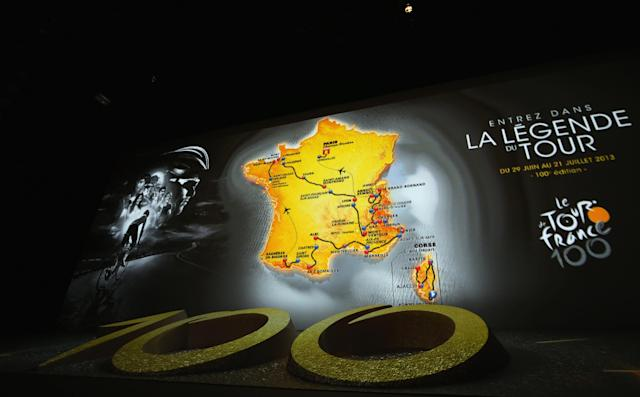 PARIS, FRANCE - OCTOBER 24: The race route is projected on stage during the 2013 Tour de France Route Presentation at the Palais des Congres de Paris on October 24, 2012 in Paris, France. (Photo by Bryn Lennon/Getty Images)