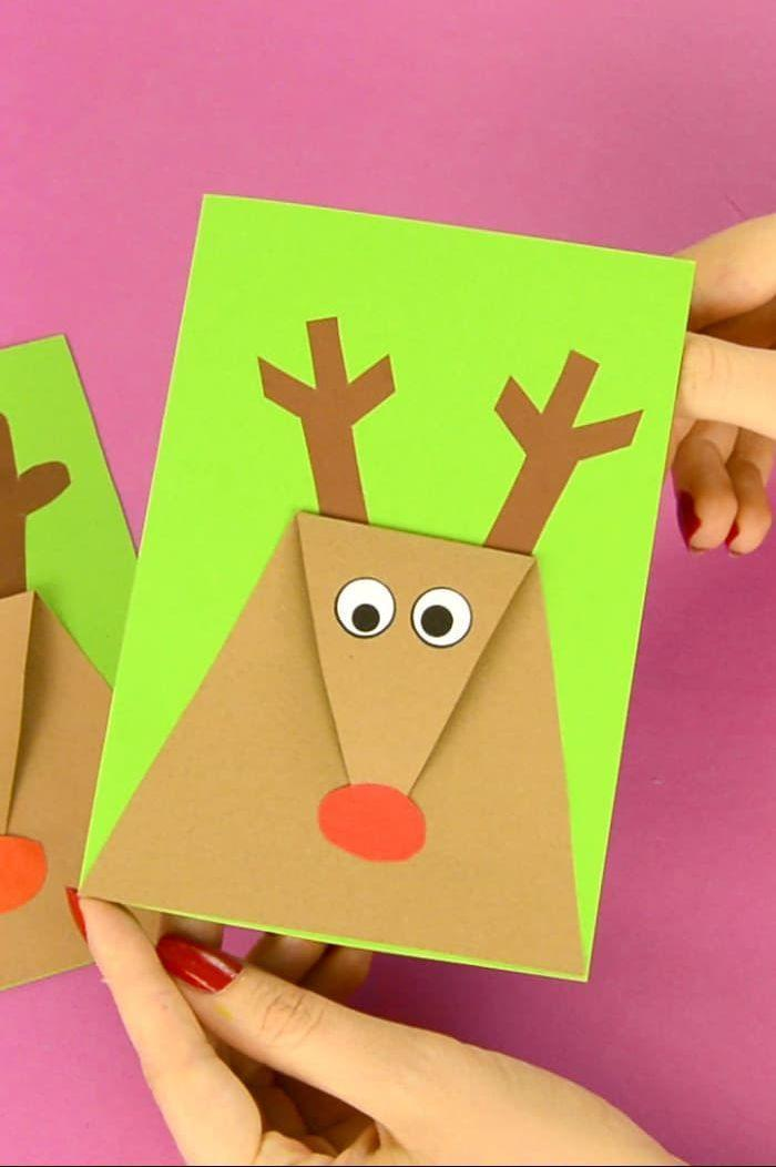 """<p>Rudolph, the red-nosed...Christmas card! This sweet DIY will delight your friends <em>and</em> your kids<em>—</em>particularly if you let them in on the crafting fun.</p><p><strong>Get the tutorial at <a href=""""https://www.easypeasyandfun.com/reindeer-christmas-card/"""" rel=""""nofollow noopener"""" target=""""_blank"""" data-ylk=""""slk:Easy Peasy and Fun"""" class=""""link rapid-noclick-resp"""">Easy Peasy and Fun</a>.</strong></p><p><a class=""""link rapid-noclick-resp"""" href=""""https://www.amazon.com/Recollections-Cardstock-Paper-Feathered-Greens/dp/B00TEF9QDE/?tag=syn-yahoo-20&ascsubtag=%5Bartid%7C10050.g.3872%5Bsrc%7Cyahoo-us"""" rel=""""nofollow noopener"""" target=""""_blank"""" data-ylk=""""slk:SHOP GREEN CARDSTOCK"""">SHOP GREEN CARDSTOCK</a><strong><br></strong></p>"""