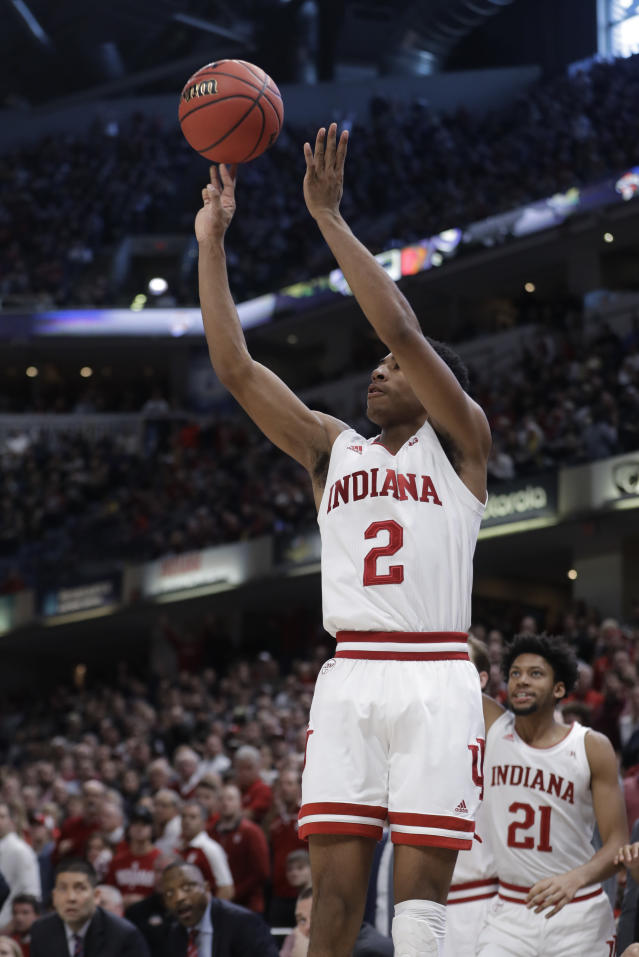 Indiana's Armaan Franklin (2) puts up the game winning shot during the second half of an NCAA college basketball game against Notre Dame, Saturday, Dec. 21, 2019. Indiana won 62-60 (AP Photo/Darron Cummings)
