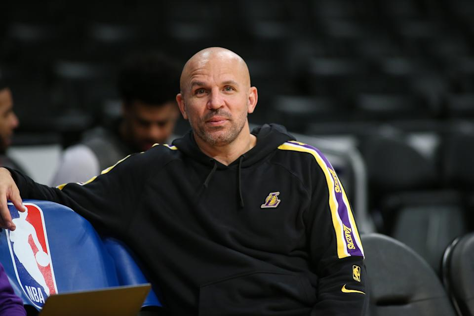 Los Angeles Lakers assistant Jason Kidd in a hoodie before the Houston Rockets vs Los Angeles Lakers game on February 06, 2020, at Staples Center in Los Angeles, CA. (Photo by Jevone Moore/Icon Sportswire via Getty Images)