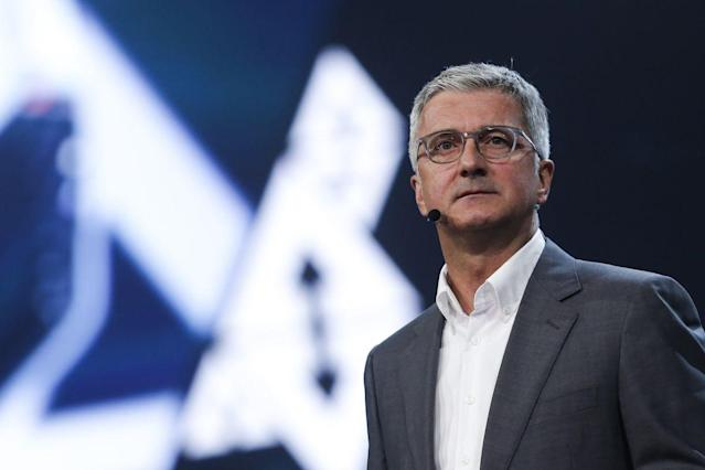 Rupert Stadler, chief executive officer of Audi AG, looks on as he unveils the Audi AG A8 sedan automobile during a launch event in Barcelona, Spain, on Tuesday, July 11, 2017. Stadler faces his toughest test since taking the helm at Audi ten years ago, as Volkswagen's biggest profit contributor grapples with declining sales and widening legal probes into its role in the diesel scandal. Photographer: Pau Barrena/Bloomberg