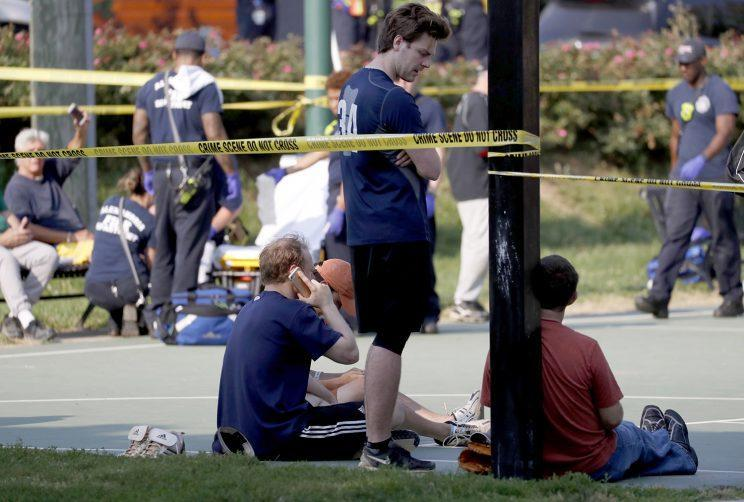 People near the scene of a shooting at the Republican congressional baseball team practice in Alexandria, Va., on Wednesday. (Photo: Shawn Thew/EPA)