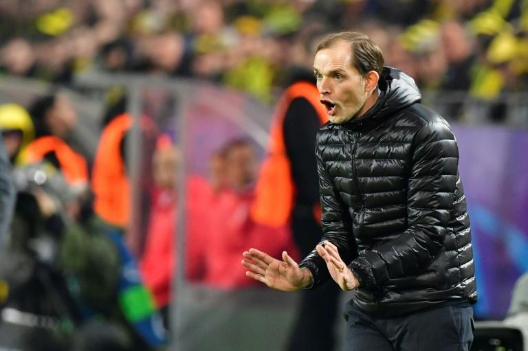 Dortmund coach Thomas Tuchel shouts instructions during their Champions League match against Benfica, in western Germany, on March 8, 2017