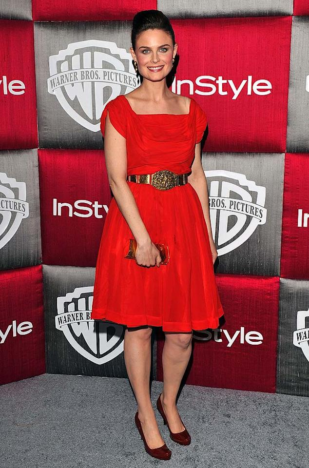 "Emily Deschanel's lips, dress, and shoes were all different shades of red at InStyle/Warner Bros. Golden Globes after party. Lester Cohen/<a href=""http://www.wireimage.com"" target=""new"">WireImage.com</a> - January 11, 2009"