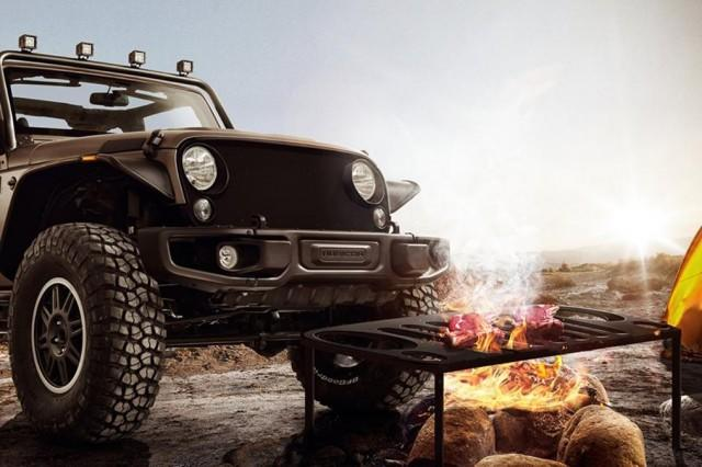 Jeep Wrangler's detachable grille that grills barbeque