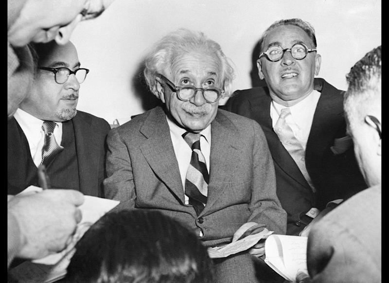 Portrait of German-born Swiss-US physicist Albert Einstein (1879-1955), author of theory of relativity, awarded the Nobel Prize for Physics in 1921, celebrating his 75th birthay at Princeton University, march 15, 1954. (Photo credit should read -/AFP/Getty Images)