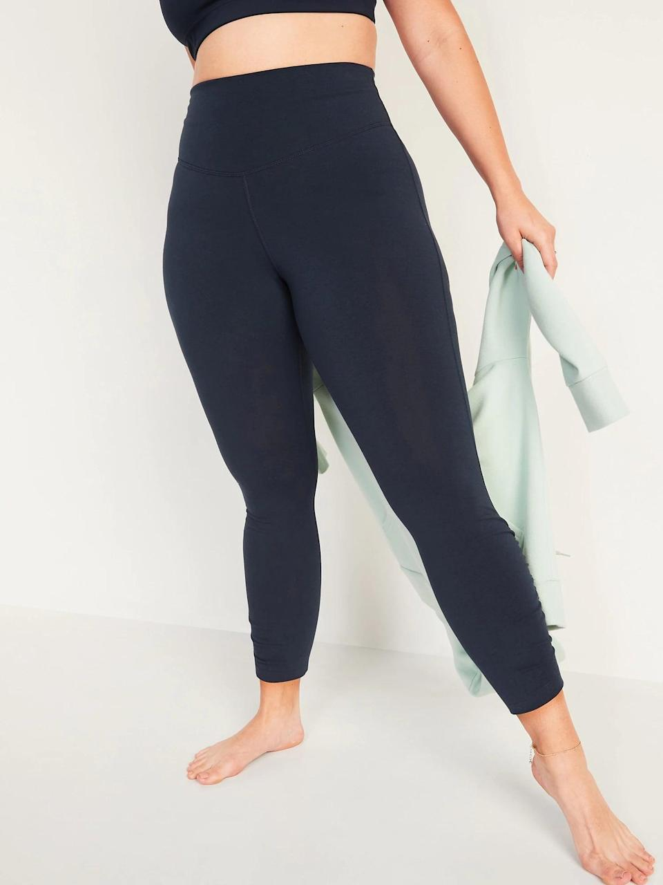 <p>When you've already filled your maximum capacity for black leggings, there are always these <span>Old Navy Extra High-Waisted PowerChill Ruched 7/8-Length Leggings in In the Navy</span> ($30).</p>